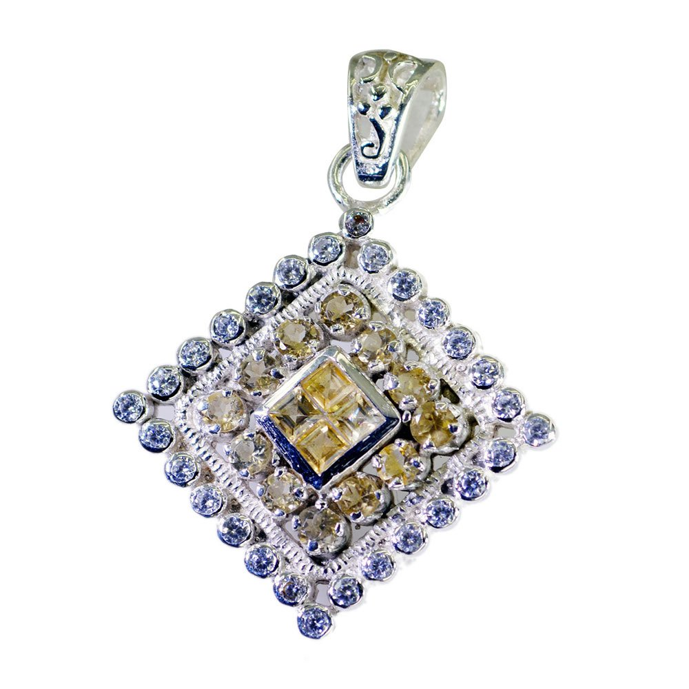 CaratYogi Genuine Citrine Pendant Silver For Women Charm Princess Round Shape Cluster Style Necklace