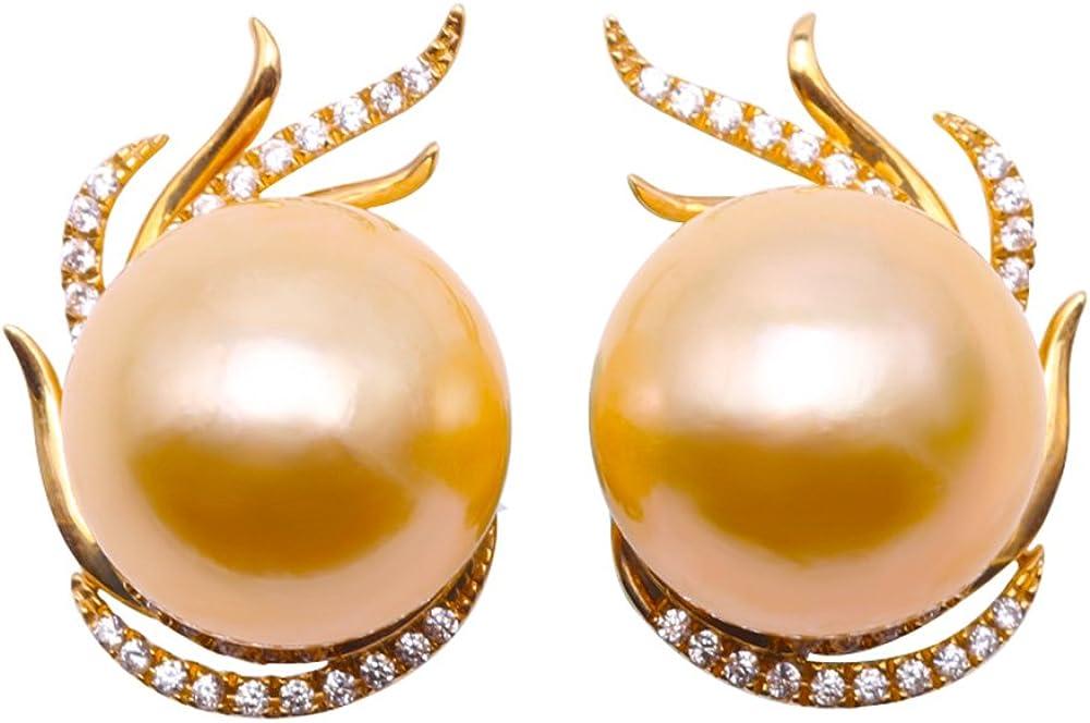 jyx 18K oro 13mm mar del sur perla cultivada y diamante Stud Pendientes