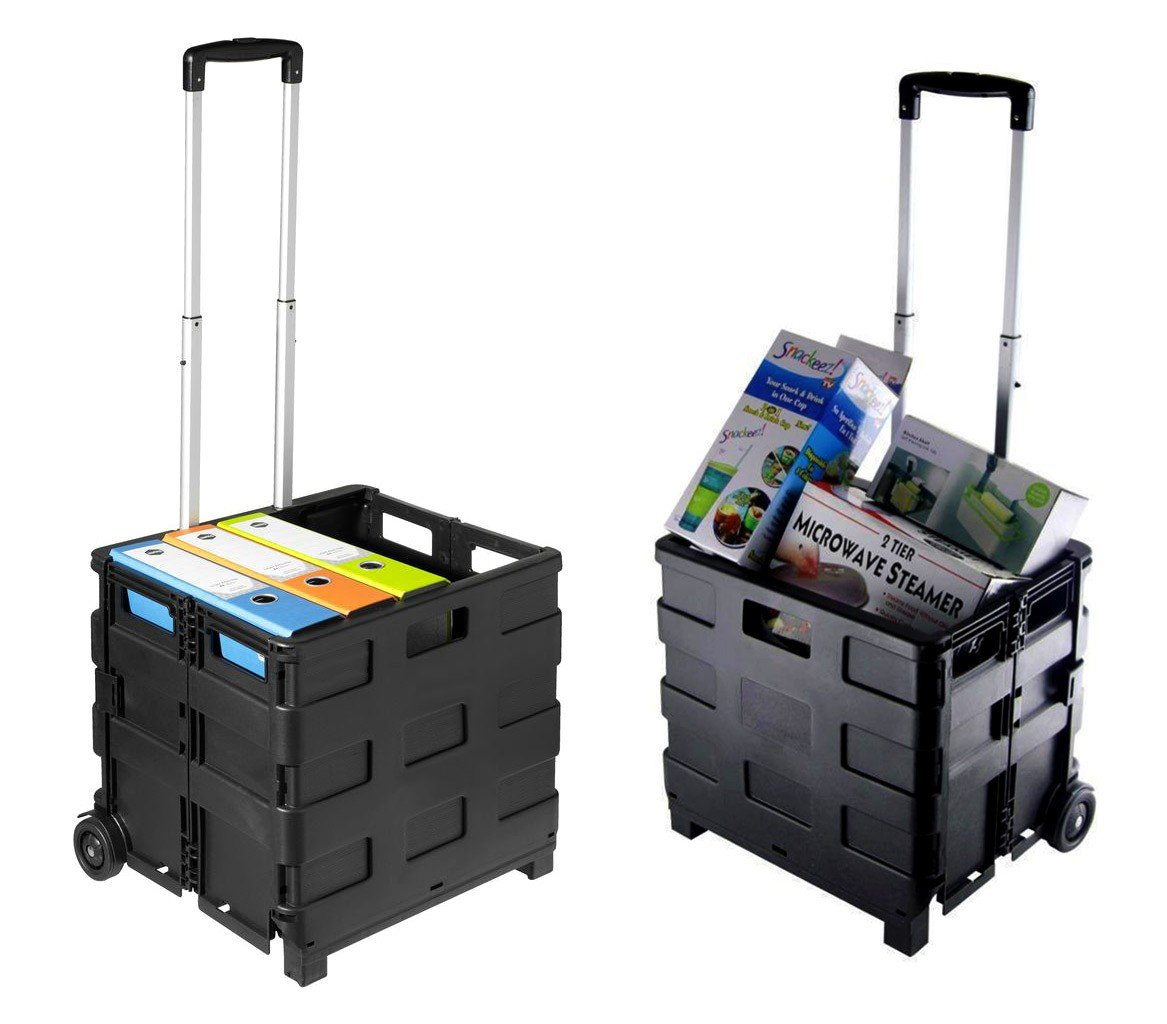 334115 Carrito de la compra negro plegable de plástico capadidad hasta 25 kg: Amazon.es: Hogar