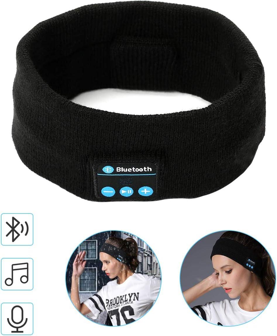 yidenguk Diadema Bluetooth Auriculares Dormir Bluetooth Diadema, Wireless Bluetooth Headset Unisex Sports Headband Headphones, Música Sweatband para Entrenamiento, Footing, Yoga, Negr