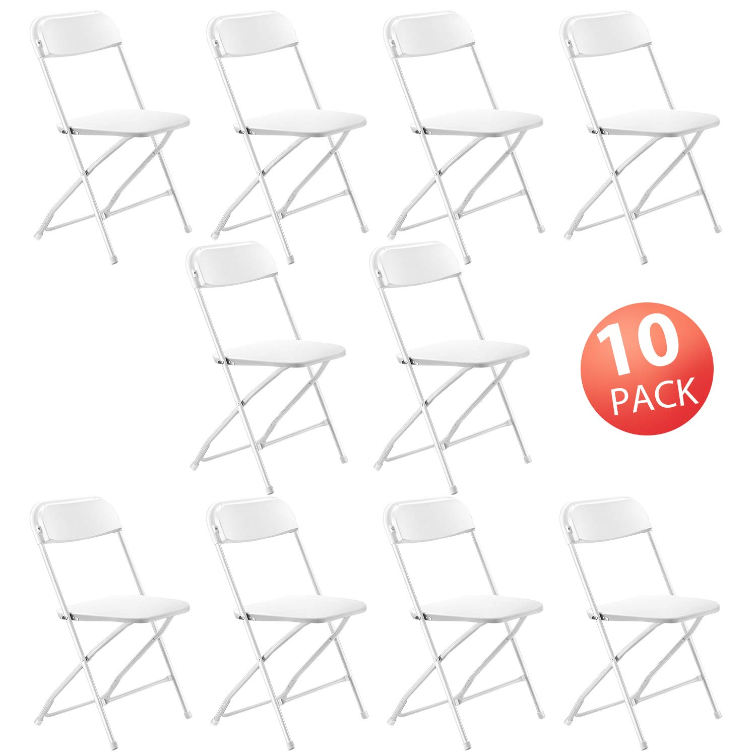 Kealive Folding Chair 10 Pack Fold Chair 330 lbs Weight Capacity for Events, Premium Lifetime Fold Up Chair Portable 18'' L x 18'' W x 31'' H, White by kealive