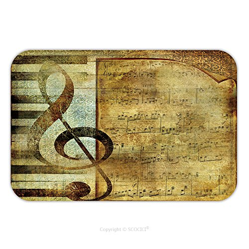 Flannel Microfiber Non-slip Rubber Backing Soft Absorbent Doormat Mat Rug Carpet Musical Background With Note Page 20406937 for Indoor/Outdoor/Bathroom/Kitchen/Workstations