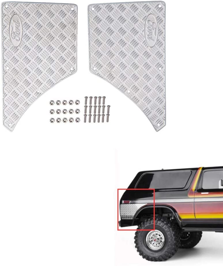 XUNJIAJIE Acero Inoxidable Rear Side Car Body Protector Plate Set for Traxxas trx4 Bronco 1/10 RC Car Upgrades Parts