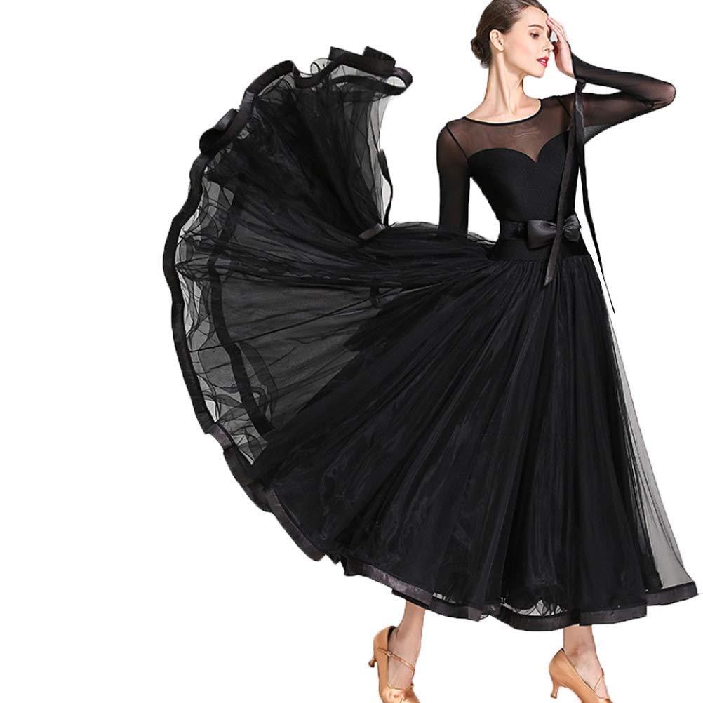 最大80%オフ! 女性/女の子のための長袖の標準のダンスドレスメッシュステッチタンゴパフォーマンスダンスウェアシンプルなワルツモダン社交ダンス大会用ドレス B07QKBR5WB XL|ブラック B07QKBR5WB ブラック ブラック XL, エムズオートカンサイ:f21a8ce7 --- a0267596.xsph.ru
