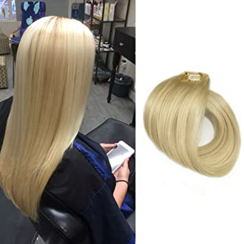 Amazon 15 clip in hair extensions blonde clip on remy human 15quot clip in hair extensions blonde clip on remy human hair extensions straight fine hair pmusecretfo Image collections