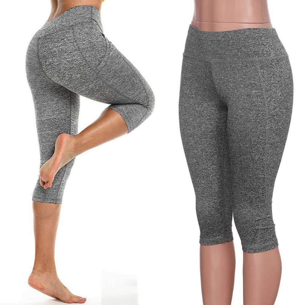Fafalisa Yoga Pants Running Pants Tights Tummy Control Workout Running 4 Way Stretch Leggings Tights High Waist with Pocket(Gray,S)