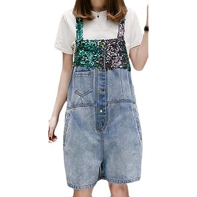 maweisong 女性のデニムビブストラップ裂かれたポケットの全体的なジャンプスーツショーツ