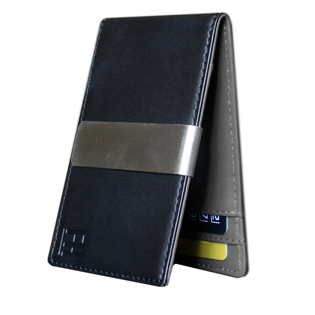 F&H Minimalist Slim Leather Wallet Money Clip Holds 8 Cards (Smooth Black / Grey)
