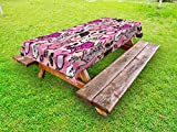 Lunarable Girls Outdoor Tablecloth, Vintage Female Accessories Sexy Corset Perfume Bottles Shoes Lipstick Mirror Roses, Decorative Washable Picnic Table Cloth, 58 X 104 inches, Pink Black