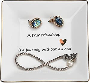 JPCRAFT Jewelry Trinket Tray Ring Dish Holder for Women and Girls A True Friendship is a Journey Without an End