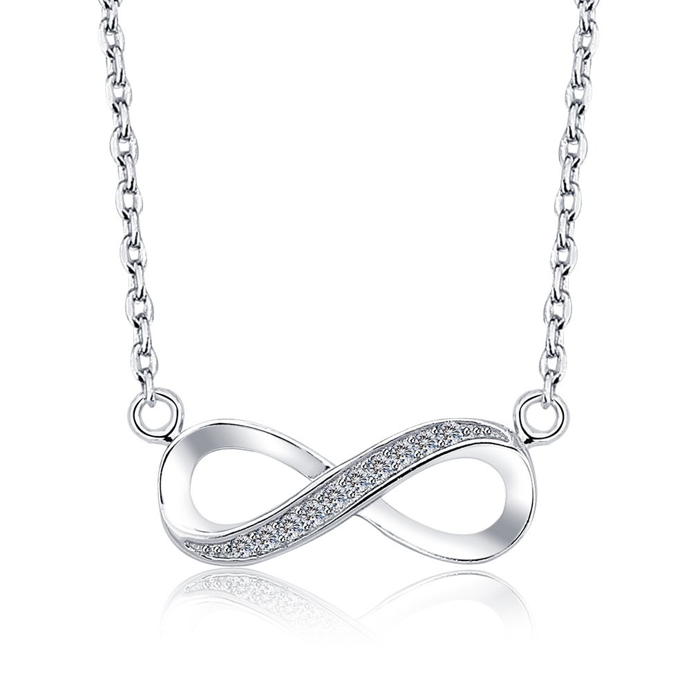 Evercreative Fashion Infinity Pendant Necklace For Women Girls Mom Daughter 925 Sterling Silver Love Heart Choker Chains Necklace Holder Extenders Circle Charm Jewelry