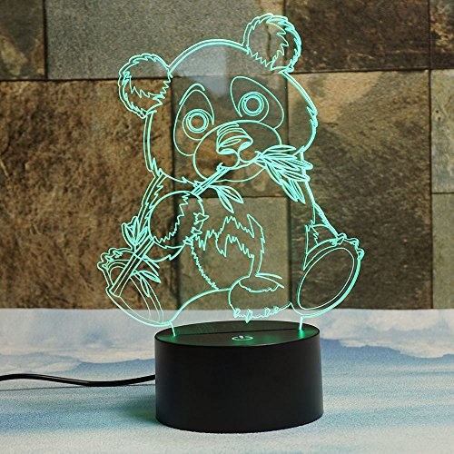 Giant Panda Bear 3D Illusion Lamps, Elstey 7 Color Changing Touch Table Desk LED Night Light Great Gifts for Kids