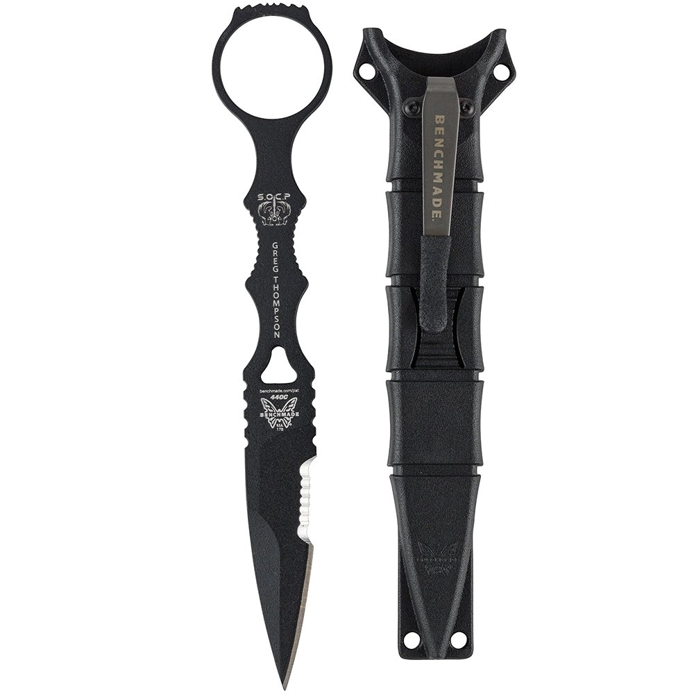 Benchmade - SOCP Spear-Point Dagger 178 with Black Sheath, Skelentonized Spear-Point Blade, Serrated Edge, Coated Finish, Black Handle by Benchmade