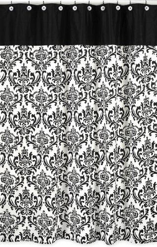 Sweet Jojo Designs Black and White Isabella Kids Bathroom Fabric Bath Shower Curtain