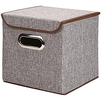 Amazon.com: Xena 10 Inch 2 Foldable Storage Box Lids Handles Bins Basket Boxes Closet Drawer