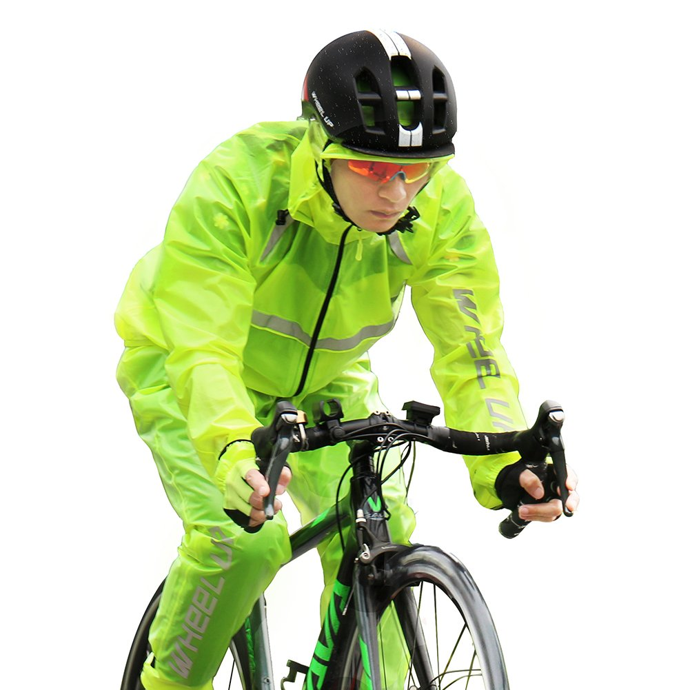 Unisex Cycling Rain Jacket Windproof Breathable Hooded Raincoat with Pants and Reflective Straps for Outdoor Sports(L) VGEBY