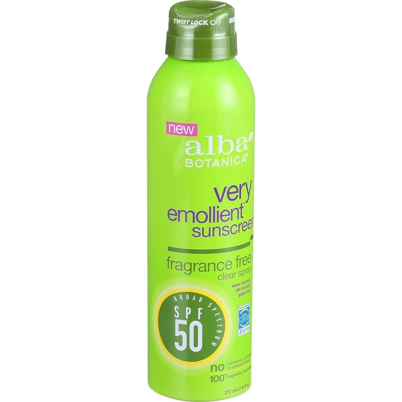 alba botanica emollient sunscreen fragrance free clear spray spf 50