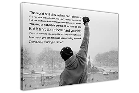Canvas wall art prints iconic rocky balboa hope quote black and white landscape hollywood movie photo