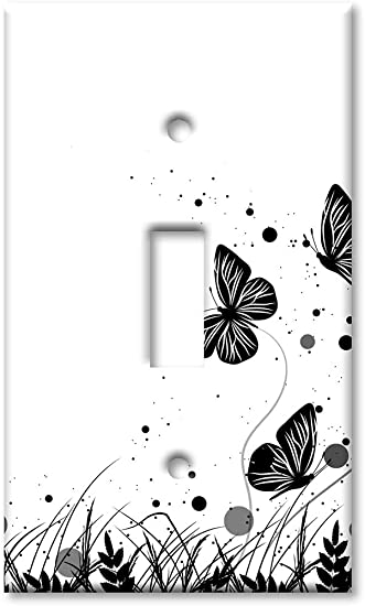 Art Plates 1 Gang Toggle Wall Plate Black And White Butterfly Amazon Com