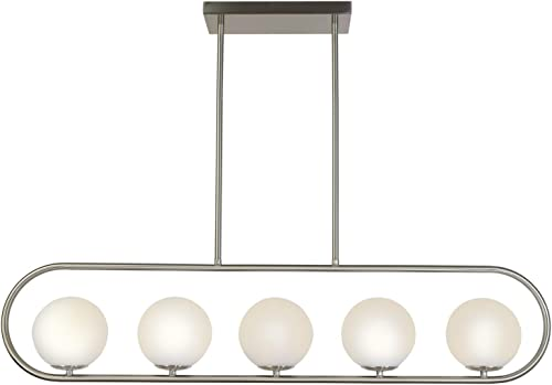 TULUCE Modern Brushed Nickel Chandeliers Lighting,5-Light Indoor Pendant Light Fixture