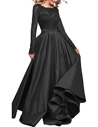 DarlingU Womens Long Sleeves Prom Evening Dresses Pockets Lace Appliques Formal Party Gown Illusion Black 2