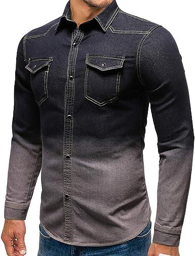 Camisas para Hombres Camisa de Mezclilla Vintage Blusa de Vaquero Slim Fit Long Tops de Manga Larga Slim Fit Camiseta Casual Ropa Deportiva: Amazon.es: Ropa y accesorios