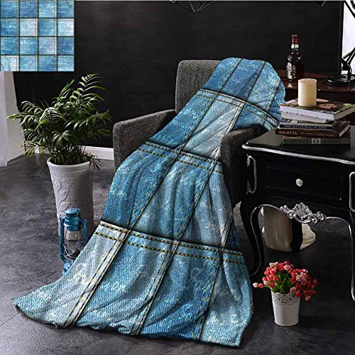 SSKJTC Blue Sofa Throw Blanket Jean Pattern on Denim Color Dorm Bed Baby Cot Traveling Picnic W60 xL50