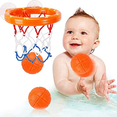 HBBOOI Bath Toys Fun Basketball Hoop & Balls, Basketball Games in Bathtub Swimming Pool for Toddlers Boys and Girls 2-5 Years Old Bath Toys Gift Set 3 Mini Balls Included (Size : A): Home & Kitchen