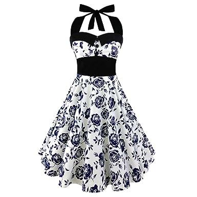 1950s Vintage Rockabilly Kleid Elegant Neckholder Kleid A-Linie mit ...