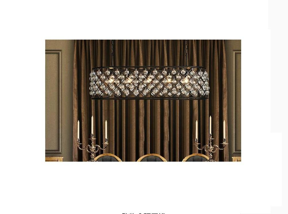 Perfectshow 6-light Spencer Rectangle Chandelier Ball Shade Glass 41-inche Island Pendant Metal Black by Perfectshow (Image #3)