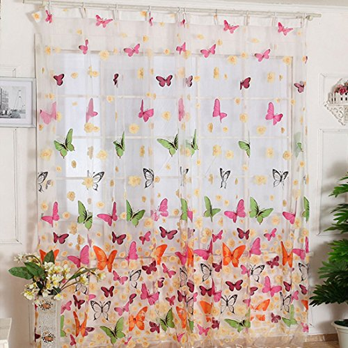 Perfect Outtop Butterfly Print Sheer Window Panel Curtains Room Divider For Living Room  Bedroom Girl 200X100CM