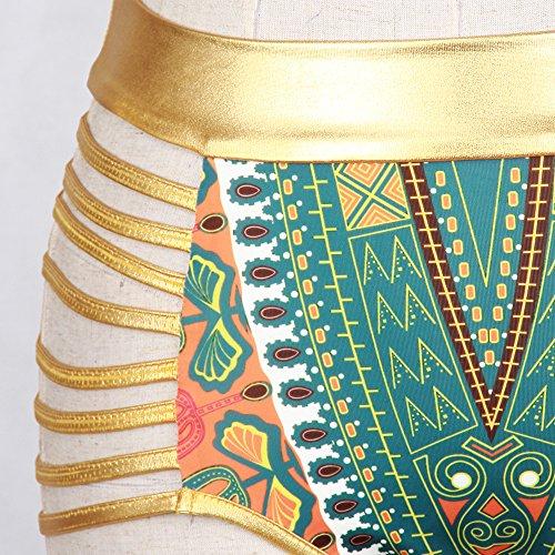 ZAMME Mujeres Africano Tribal Metallic Cut Out Swimwear Bikini de alta cintura establece traje de baño Verde