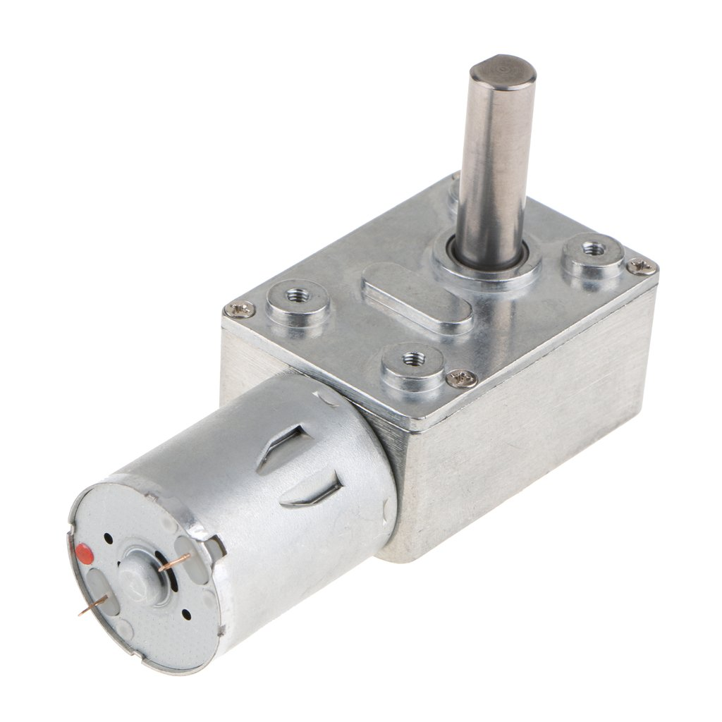 Homyl DC 12V Worm Gear Motor Reversible High Torque Speed Reduce Turbine Electric Gearbox Motor 25mm Shaft - 6RPM