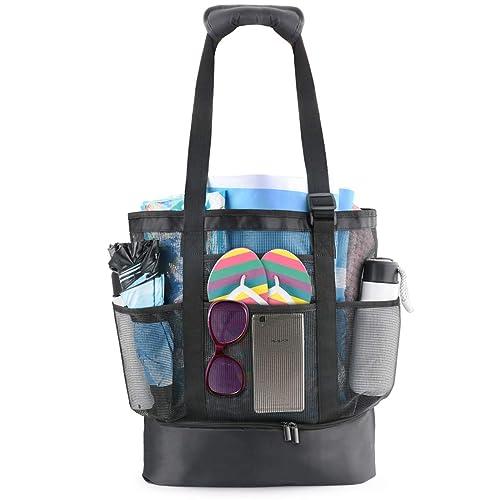 Idefair bolsa de playa de malla, bolsa de compras extragrande, reutilizable, para la playa, para la familia, picnic, para exteriores, con correa ...