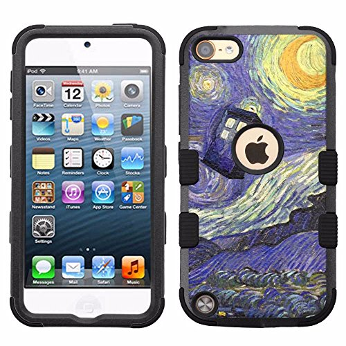for iPod Touch 5/6, Hard+Rubber Dual Layer Hybrid Heavy-Duty Rugged Armor Cover Case - Doctor Who #Starry Night (Dr Who Ipod 5 Case)