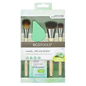 EcoTools Prep + Refresh Makeup Brush Set, With Sponge Blender and Brush Cleaner Cleansing Shampoo, Vegan Beauty Tools, Set of 5