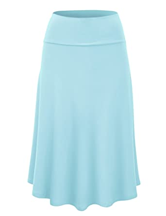 LL Womens Solid Flare Midi Skirt - Made in USA at Amazon Women's ...