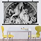 Gzhihine Wall Scroll Sculptures Decor Wall Hanging Twin Contrast Horse Heads Statue mage Vintage Style Art Antigue War Theme Print Decor Green Dark Brown 24''x48''