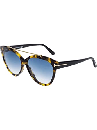 3ade726901514 Image Unavailable. Image not available for. Color  Tom Ford FT0518 56W Shiny  Havana Livia Cats Eyes Sunglasses Lens Category ...
