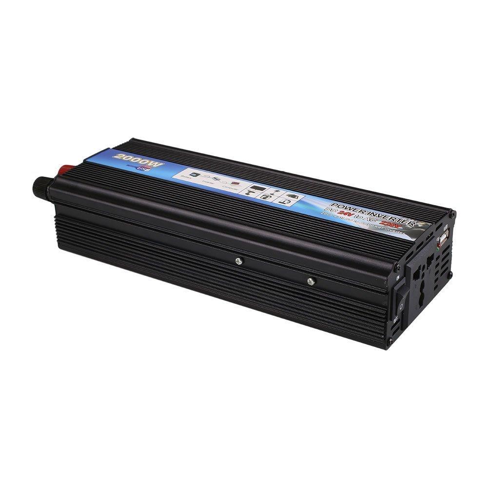Inverter 2000 W 2000 W Auto Car Vehicle Power Inverter 24V-220VAdaptador Convertidor con puerto USB de alta conversi/ón eff