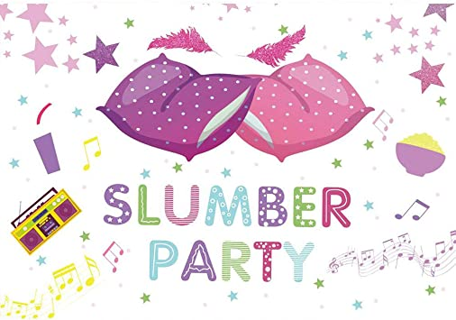 Amazon.com: Allenjoy Slumber Party Backdrop Kids Girls Pillow Fight Radio  Birthday Sleepover Parites Table Wall Decorations Pajama Banner 7x5ft  Photoshoot Background for Children Photography Photo Booth Props: Camera &  Photo