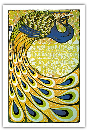 Pacifica Island Art - Art Nouveau Book Cover Peacock by Albert Angus Turbayne c.1870 - Master Art Print - 12in x 18in