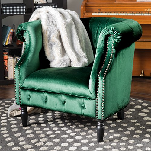 Aries | New Velvet Tub Chair with Studded Accents | in Emerald