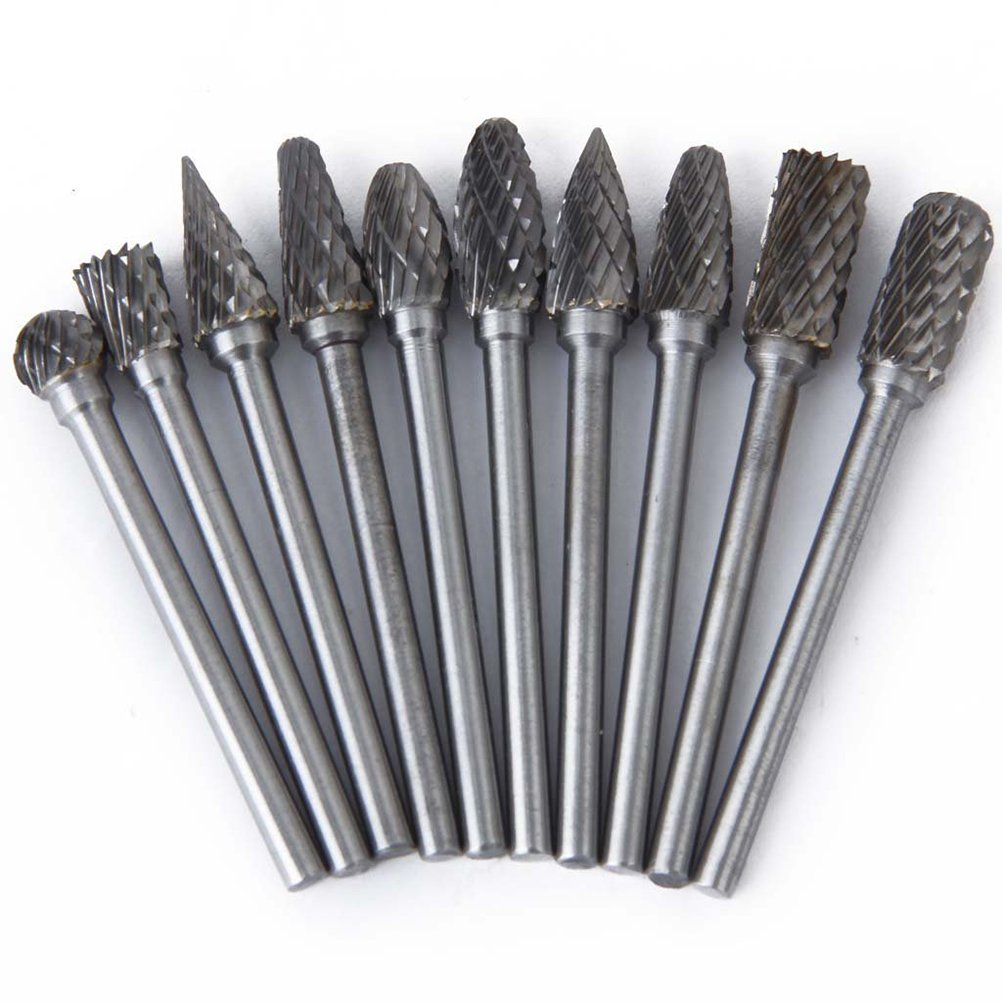 UEETEK 10pcs 6mm Tungsten Steel Carbide Rotary Bur Heads Bur Set