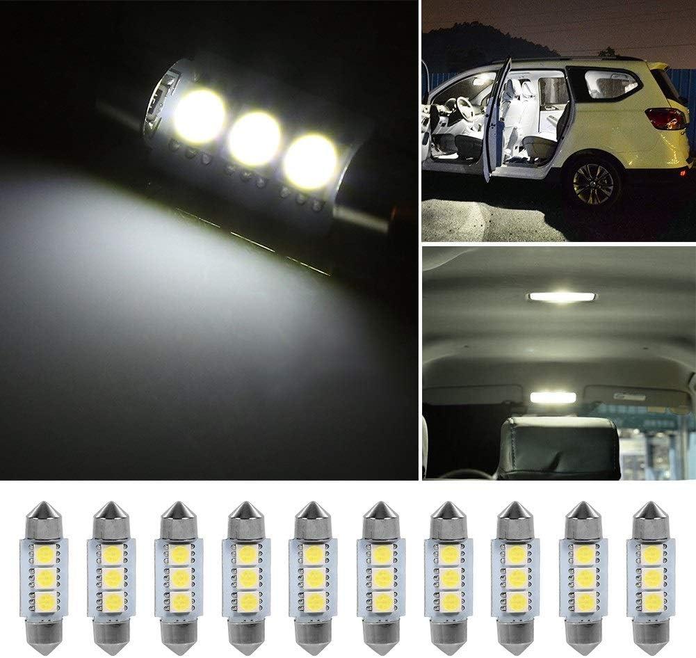 Int/érieur de la voiture Blubs-10PCS 36MM 12V 3 SMD 5050 LED Festoon Dome Ampoule de voiture int/érieur lampe blanc