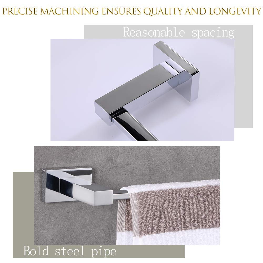 Towel Ring LUCKUP 4 Piece Bath Hardware Towel Bar Accessory and Toilet Paper Holder 304 Stainless Steel Wall Mounted,Polished Chrome /… /… Robe Hook Includes Towel Bar