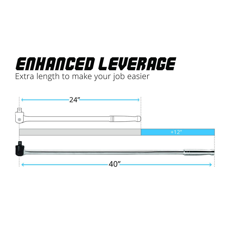 159 ft-lb Capri Tools 3//8 Inch Drive Extension Breaker Bar 12 inches