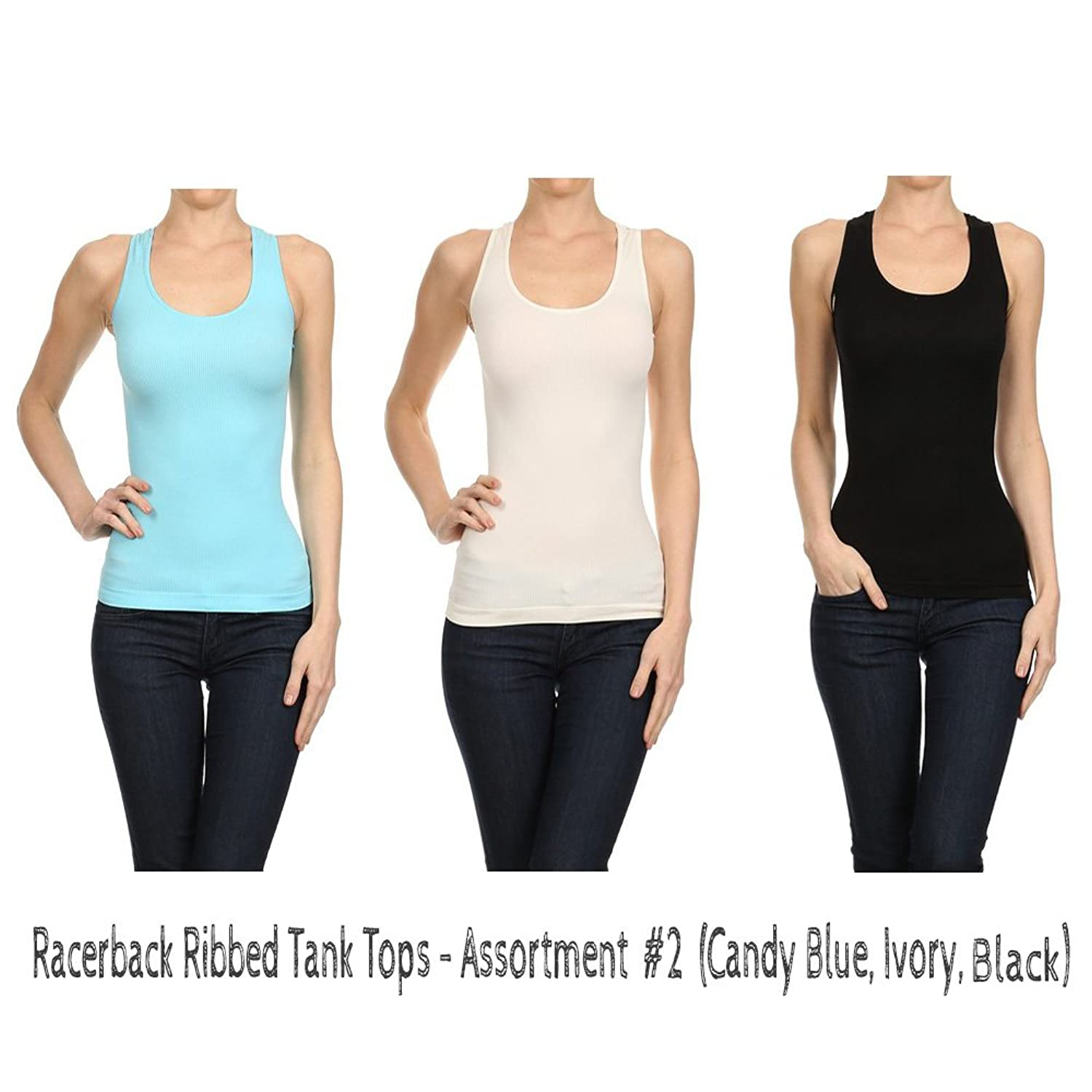 CCFW Super Stretchy Ribbed Racer Back Tank Tops - Assorted Colors 3Packs