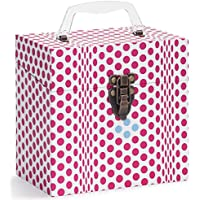 TUNES-TOTE FOLDING DOTS PINK 45 RPM 7 VINYL RECORD STORAGE - PROTECTIVE 7 VINYL CARRY BOX