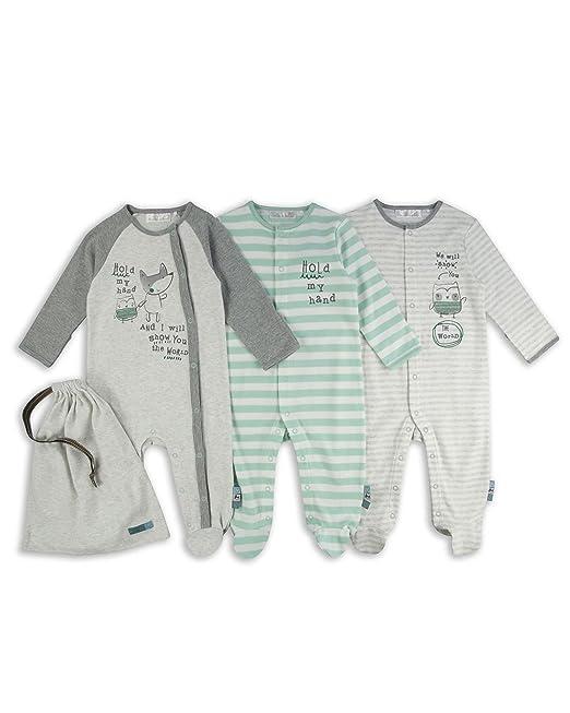 The Essential One - Bebé niños - Búho y Zorro Pijamas - Paquete de 3 -